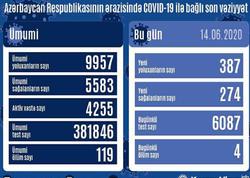 Azərbaycanda daha 387 nəfər koronavirusa yoluxdu, 274 nəfər sağaldı, 4 nəfər öldü