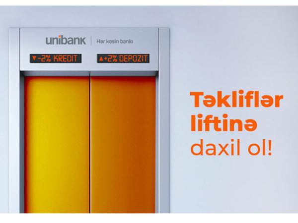 """Unibankdan 2 aylıq """"+2%, -2%"""" kampaniyası!"""