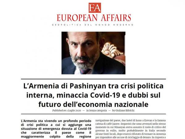 İtaliya jurnalı Ermənistandakı acınacaqlı daxili siyasi vəziyyətdən yazır