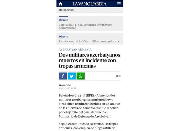 """İspaniyanın """"La Vanguardia"""" qəzeti Azərbaycan-Ermənistan sərhədində gedən döyüşlərdən yazır"""