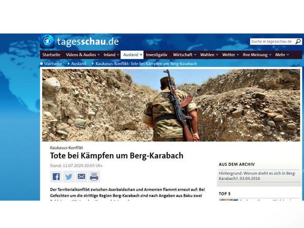Almaniyanın ARD ictimai televiziyası Ermənistanın təxribatından bəhs edib