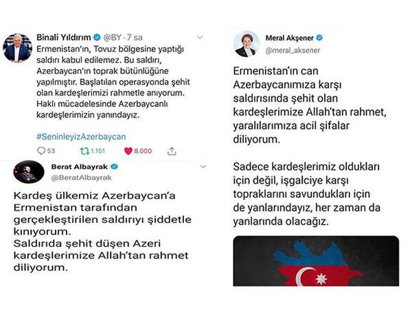 """Türkiyə siyasilərindən Azərbaycana dəstək: """"Seninleyiz Azerbaycan"""""""