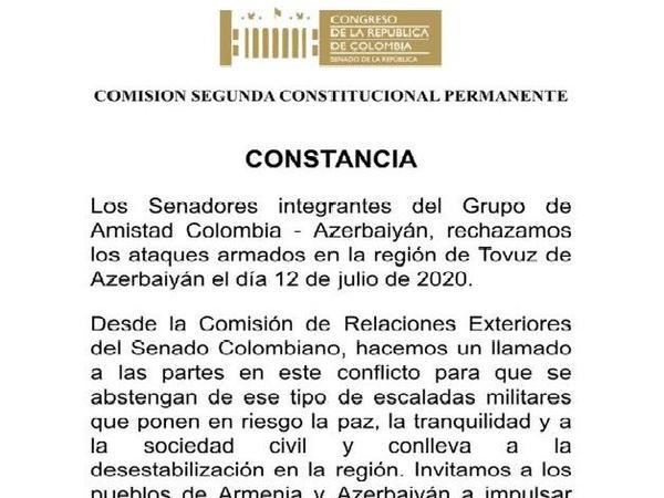 Kolumbiya Senatı Tovuz istiqamətində hücumları pislədi