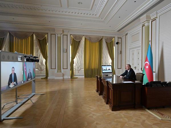 Prezident İlham Əliyev Ceyhun Bayramovu Xarici İşlər naziri təyin olunması ilə əlaqədar videoformatda qəbul edib - FOTO