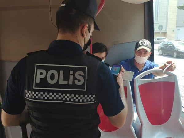 Polis ictimai nəqliyyatda nəzarət tədbirlərini davam etdirir - FOTO