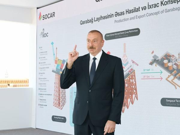 """Azərbaycan Prezidenti """"Qarabağ"""" yatağının dayaq bloku haqqında: Bu qurğu bir daha bizim qüdrətimizi göstərir"""
