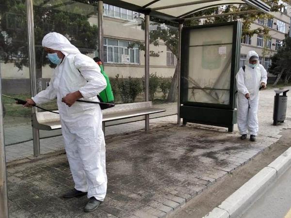 Gəncədə COVİD-19-a qarşı dezinfeksiya işləri gücləndirildi - FOTO