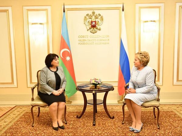 Sahibə Qafarova Rusiya Federal Məclisi Federasiya Şurasının sədri ilə görüşüb