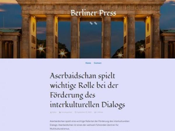 """""""Berliner Press"""" nəşri Prezident İlham Əliyevin BMT Baş Assambleyasının 75-ci sessiyasındakı ümumi debatlarda çıxışı barədə məlumat dərc edib"""