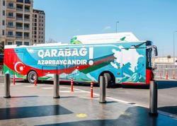"""Avtobusların üzərində """"Qarabağ Azərbaycandı! şüarı yazıldı - FOTO"""