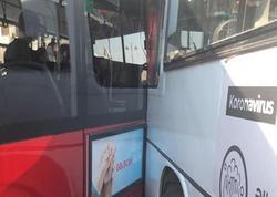 Bakıda iki avtobus toqquşdu - FOTO