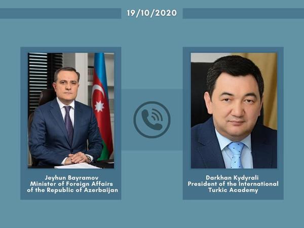 Ceyhun Bayramovla Beynəlxalq Türk Akademiyasının prezidenti arasında telefon danışığı olub