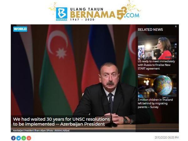 Malayziyanın dövlət xəbər agentliyi Azərbaycan Prezidentinin xalqa müraciətinə dair məqalə dərc edib