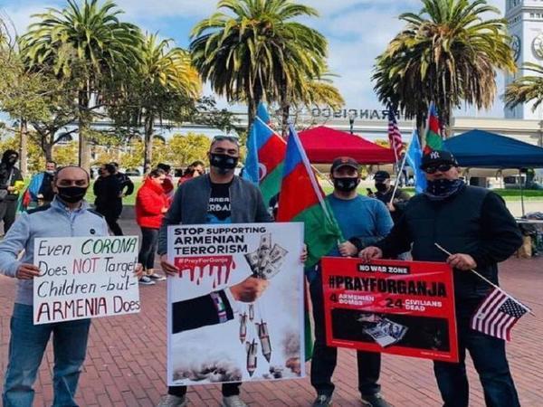 Kaliforniyada Gəncə terroruna etiraz - FOTO