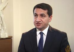 """Hikmət Hacıyev """"Al Jazeera"""" kanalına müsahibə verib - VİDEO"""