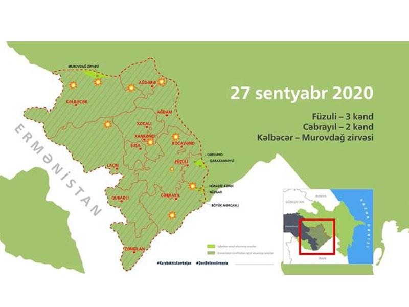 Azərbaycan ordusunun işğaldan azad etdiyi 185 məntəqə interaktiv xəritədə - VİDEO