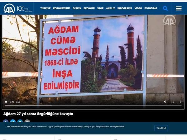 Anadolu agentliyi Ağdam rayonunun görüntülərini əks etdirən videomaterial yayımlayıb - FOTO
