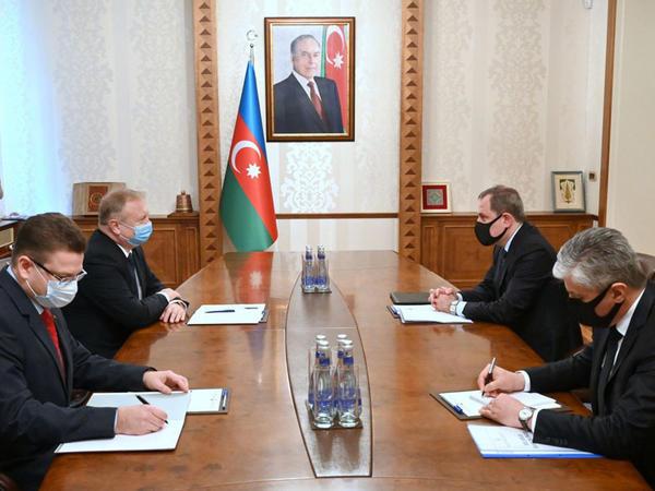 Ceyhun Bayramov Belarusun səfiri Gennadi Axramoviç ilə görüşüb - FOTO