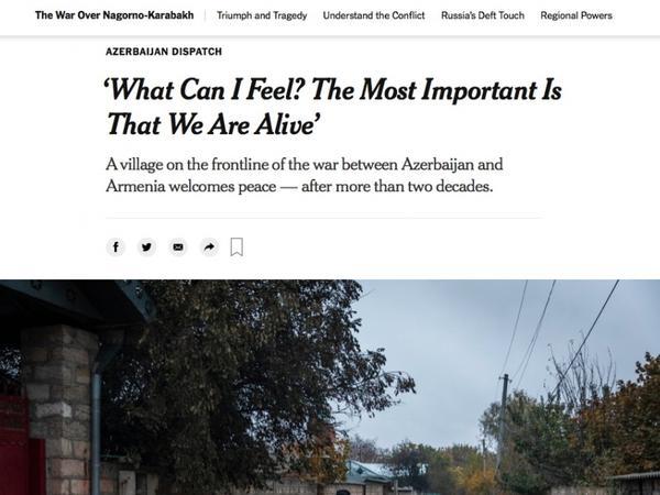 """""""The New York Times"""" qəzetində Ağdamın Çıraqlı kəndi barədə məqalə dərc edilib"""
