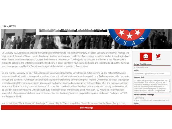 ABŞ-da 20 Yanvar faciəsi ilə bağlı məktub kampaniyası başlayıb