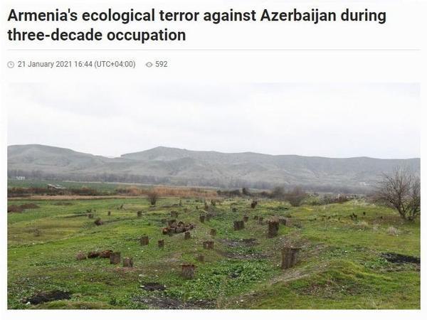 """""""Azərnews"""" qəzeti: Ermənistanın otuz illik işğal zamanı Azərbaycana qarşı törətdiyi ekoloji terror"""