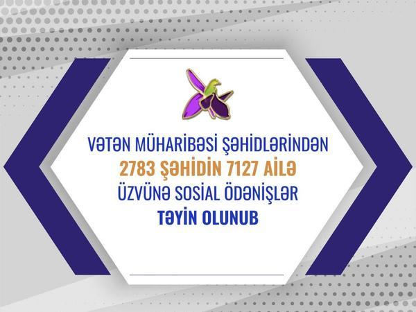 2 783 şəhidin 7 127 ailə üzvünə sosial ödənişlər təyin olunub