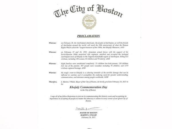 """Boston şəhər meri 26 fevral tarixini <span class=""""color_red"""">Xocalı soyqırımının anım günü elan edib</span>"""