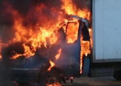 Gəncədə yük avtomobili yanıb