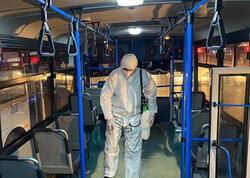 Bayram tətilindən sonra marşrut avtobusları dezinfeksiya edilib - BNA