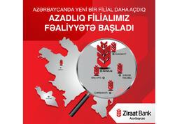 """""""Ziraat Bank Azərbaycan"""" ASC-nin  daha bir yeni filialı - Azadlıq filialı fəaliyyətə başladı!"""