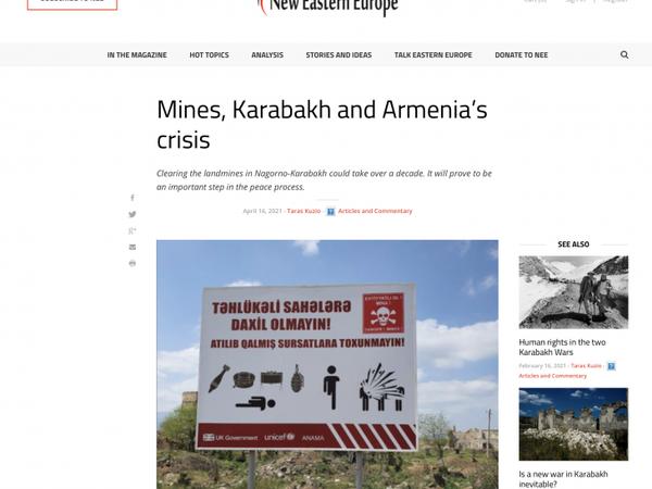 """Şərqi Avropa portalında """"Minalar, Qarabağ və Ermənistanda böhran"""" adlı məqalə dərc olunub"""