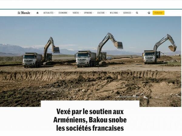 """""""Le Monde"""": Fransanın aparıcı şirkətləri Qarabağdakı böyük layihələrdən kənarda qalmaqdan ehtiyat edirlər"""