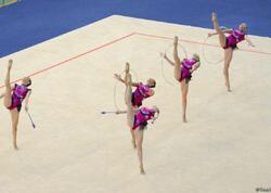 Gimnastlarımız üç halqa və iki cüt gürzlərlə hərəkətlərdə Dünya Kubokunun finalına çıxıb - FOTO