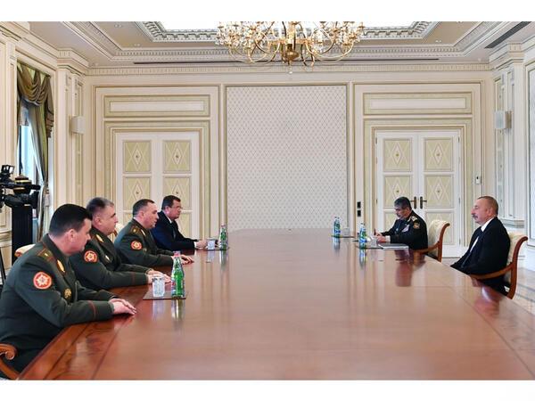 Prezident İlham Əliyev Belarusun müdafiə nazirini qəbul edib - VİDEO - FOTO