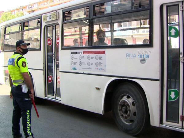 Avtobusda maska taxmayanlar cərimələndi - VİDEO - FOTO