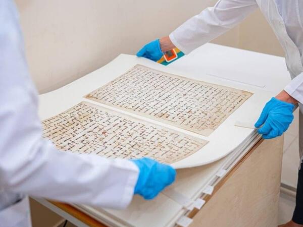 Özbəkistanda VIII əsrə aid Quran kitabı bərpa olunub - FOTO