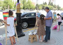 """""""Azərbaycanım"""" IV Respublika uşaq rəsm festivalı çərçivəsində  növbəti növbəti plener keçirildi - FOTO"""