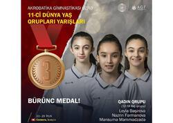 Azərbaycan gimnastları İsveçrə Dünya yaş qrupları yarışlarında bürünc medal qazanıb