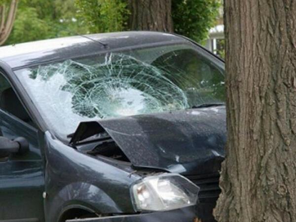 """Tovuzda avtomobil yoldan çıxaraq ağaca çırpılıb, <span class=""""color_red"""">xəsarət alan var</span>"""
