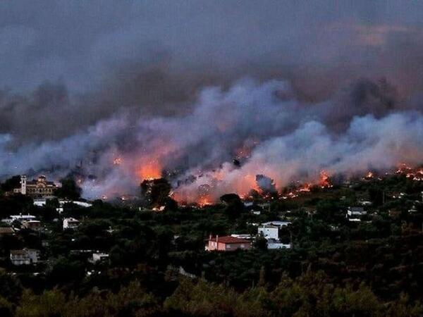 Yunanıstanda meşə yanğınlarının baş verdiyi bölgədən 300-dən çox insan xilas edildi - VİDEO