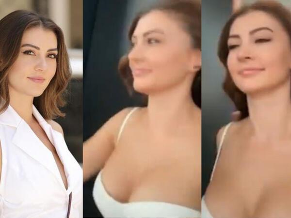 Aktrisanın dekolteli geyimi müzakirələrə səbəb oldu - VİDEO