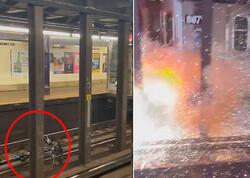 """Metroda relslərin üzərinə atılan velosiped partlayışla nəticələndi - <span class=""""color_red"""">VİDEO</span>"""