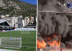 Andorra ev oyunlarını keçirdiyi stadionda güclü yanğın - VİDEO
