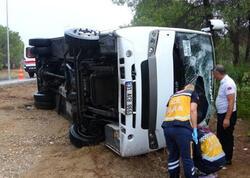 Türkiyədə rusiyalı turistləri aparan avtobus aşıb - VİDEO